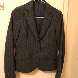 Theory Grey Wool Stripe Suit Jacket